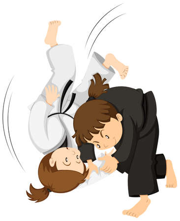Two girls playing judo illustration
