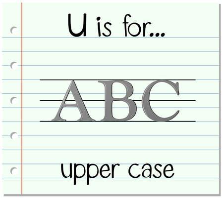 upper: Flashcard letter U is for upper case illustration