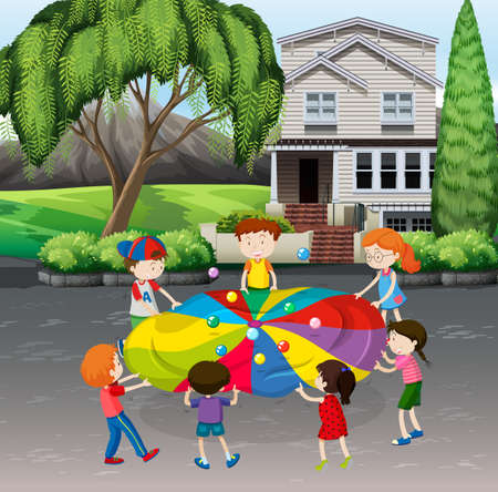 yards: Children playing balance balls on the street illustration Illustration