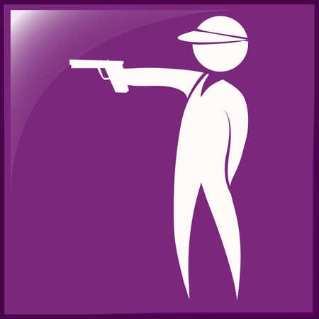 shooting gun: Sport icon for shooting gun on purple background illustration Illustration