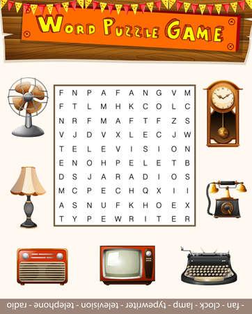 clock radio: Word puzzle game for antiqu objects illustration Illustration