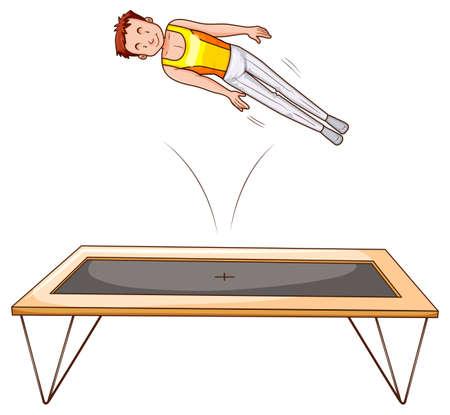 man jumping: Man athlete jumping on trampoline illustration