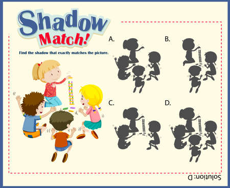 educational: Game template for shadow matching children illustration Illustration
