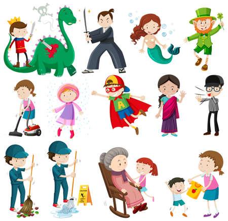 Différents personnages qui font des activités illustration Banque d'images - 58403567