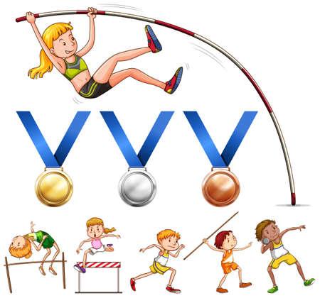 Sport Medaillen und verschiedene Arten von Leichtathletik-Sportplatz Illustration Standard-Bild - 58403569