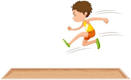 salto de longitud: El hombre deportista haciendo larga la ilustración salto
