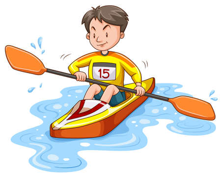 alone man: Man doing kayaking alone illustration