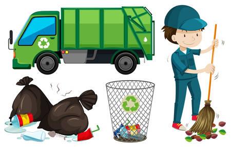 Set van vuilniswagen en conciërge illustratie