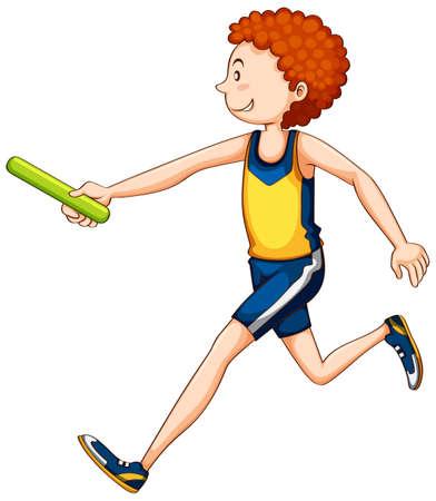 relay: Man athlete running relay illustration