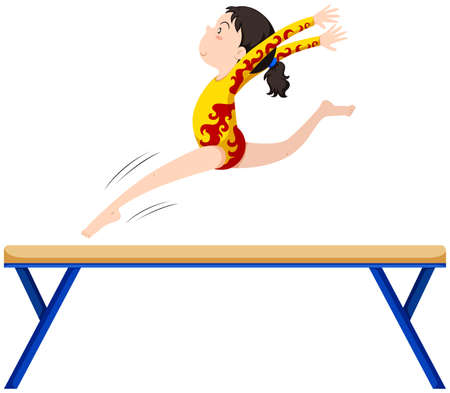 gymnastics: Gymnastics on balance beam illustration