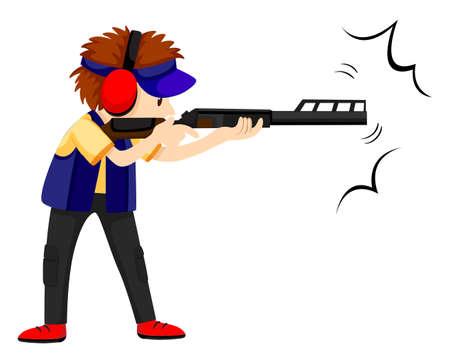 gun man: Man athlete shooting with rifle gun illustration