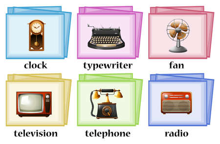 vintage objects: Vintage objects on flashcards illustration