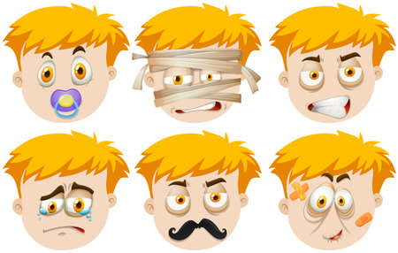 baby face: Man faces with different emotions illustration Illustration