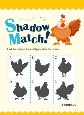 matching: Game template for matching chicken illustration