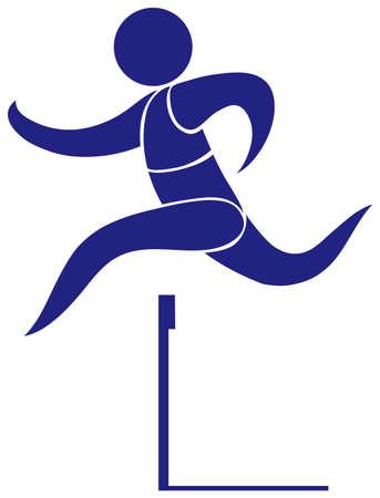 hurdle: Sport icon for hurdle in blue illustration Illustration