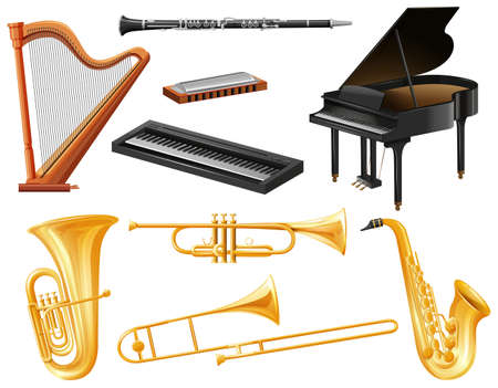 woodwind: Different kind of musical instruments illustration Illustration