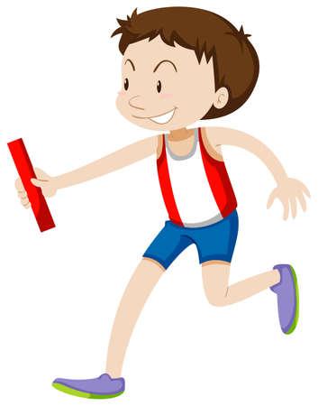 relay: Runner running relay on white illustration