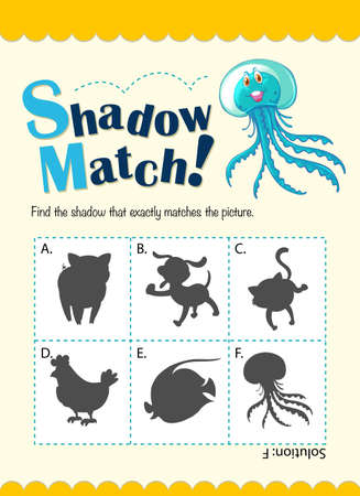 matching: Game template with shadow matching jellyfish illustration