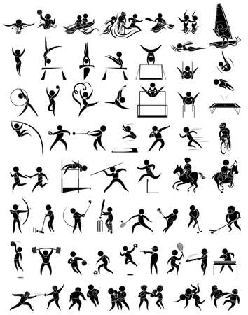 synchronized: Icon design for many type of sports illustration