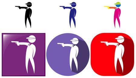shooting gun: Sport icon for shooting gun illustration