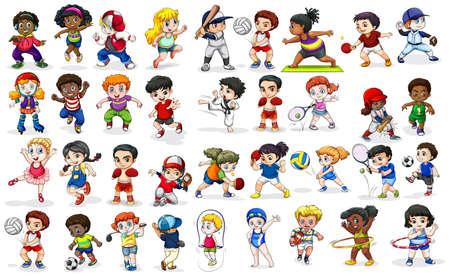 niña: Niños que hacen muchos deportes y actividades de ilustración