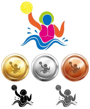 waterpolo: icono de waterpolo y medallas del deporte ilustración