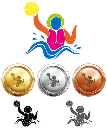 water polo: Water polo icon and sport medals illustration