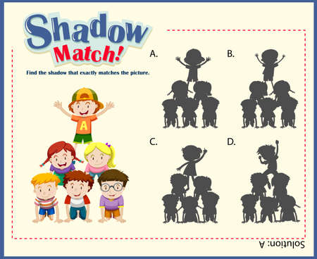matching: Game template with shadow matching children illustration