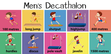 pole vault: Different types of mens decathalon illustration