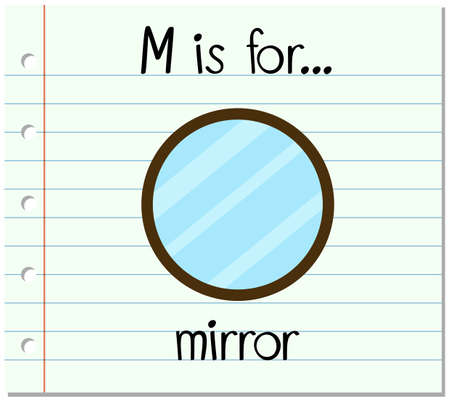 reflection mirror: Flashcard letter M is for mirror illustration Illustration