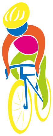 art activity: Cycling icon in colors illustration Illustration