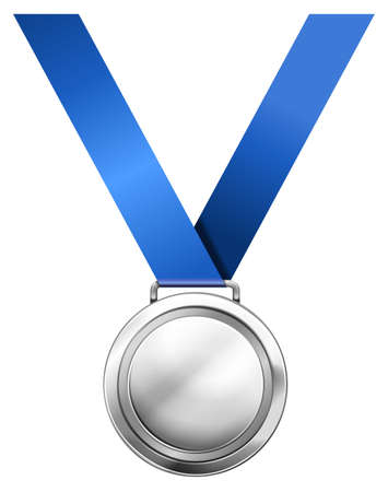 silver medal: Silver medal with blue ribbon illustration Illustration