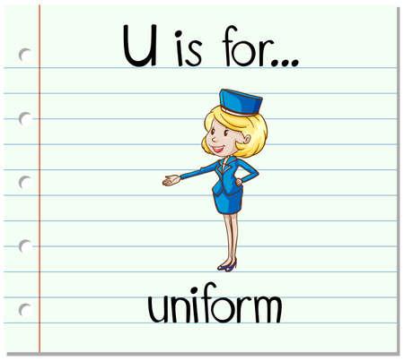 flash card: Flashcard letter U is uniform illustration