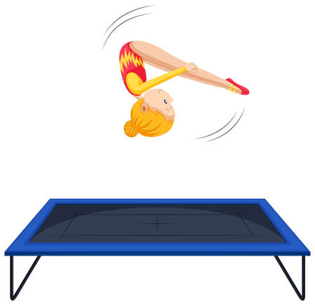 Woman athlete doing gymnastics on trampoline illustration