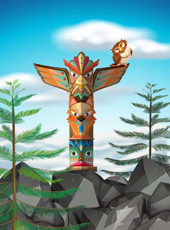 the totem pole: Totem pole on the cliff illustration Illustration