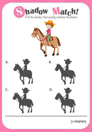 matching: Game template for shadow matching farmer illustration