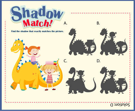 matching: Shadow matching game template with kids and dragon illustration Illustration