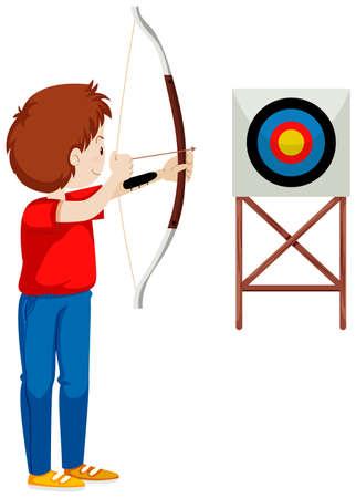 hombre disparando: Hombre que tira la flecha en la ilustraci�n de destino