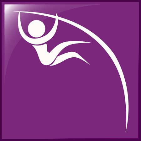 pole: Pole vault icon on purple background illustration