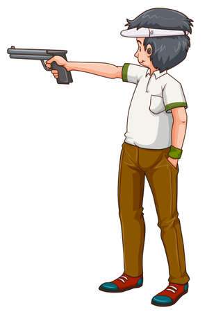 Man athlete shooting shotgun illustration