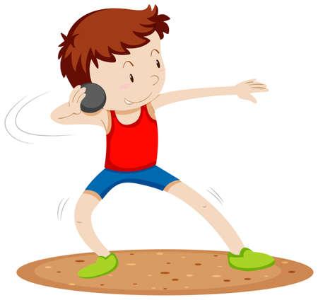 lanzamiento de bala: El hombre deportista haciendo lanzamiento de peso ilustraci�n