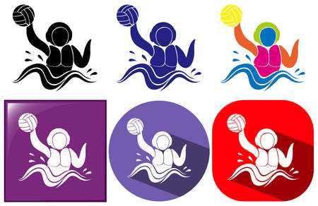 water polo: Water polo icon in three design illustration