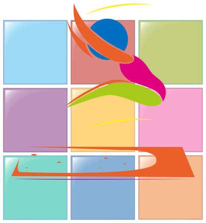 salto largo: Icono del deporte de la ilustraci�n larga de salto