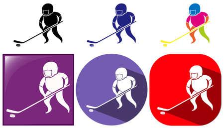 art activity: Hockey icon in three designs illustration