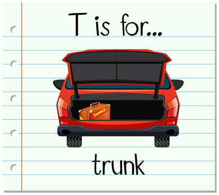 car trunk: Flashcard letter T is for trunk illustration