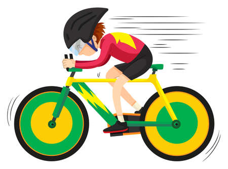 Cyclist riding on mountain bike illustration