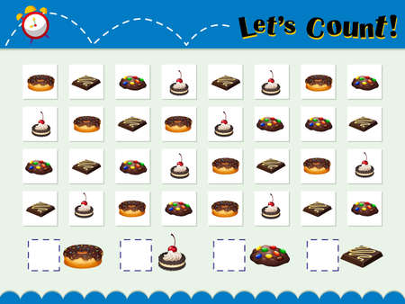 cookie sheet: Game template for counting desserts illustration Illustration