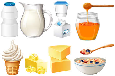 dairy products: Dairy products set with milk and honey illustration