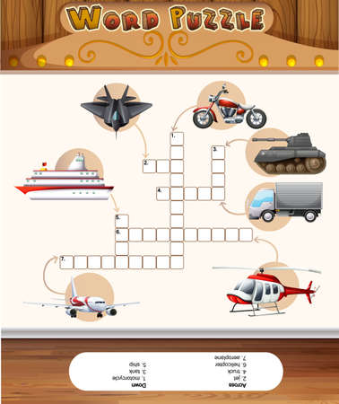 crossword puzzle: Word puzzle game template with transportations illustration
