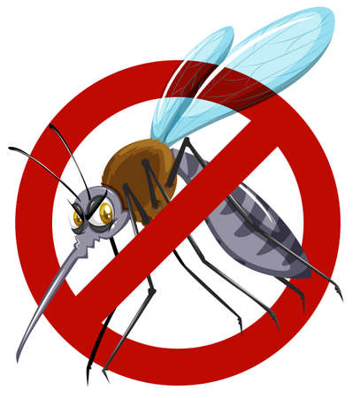 no mosquito: No mosquito sign on white illustration